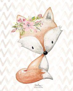 Nursery Woodland Animals Print Watercolor set of 4 fox | Etsy