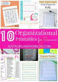 10 Organizational Printables for Summer - Just a Girl and Her Blog