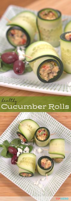 Craving a light, healthy, easy to make dish? Try these cucumber rolls!  These easy to make roll-ups are packed with a deliciously addictive homemade hummus, feta and kalamata olives for a satisfyingly healthy snack. Click to wee how they're made and give them a try. #healthyrecipes #recipes