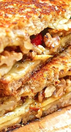 Grilled Fontina Cheese Sandwich with Apple, Walnuts, and Honey