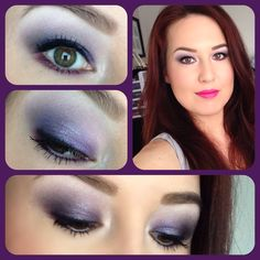 Sparkly purple smoky eye using WNW Petal Pusher palette, topped with MAC Reflects Pearl pigment. On the lips is MAC Embrace Me