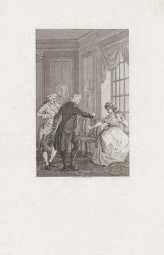 Reinier Vinkeles | Man en een vrouw in conflict, Reinier Vinkeles, 1799 | In het bijzijn van een man, maken een man en een vrouw ruzie. Een van de ruziemakers wijst op de ander.