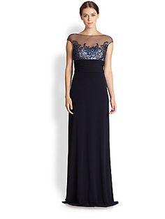 David Meister Cap-Sleeve Illusion Gown 548.00....A floor-sweeping jersey gown crowned with a sequin-beaded, delicate illusion top for an intriguing black tie look. STUNNING!! The illusion is the same on the back top of the gown.