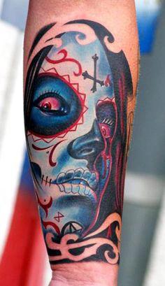 Muerte tattoo by Chris Schmidt Japanese Tattoo Symbols, Japanese Dragon Tattoos, Love Tattoos, Body Art Tattoos, Gypsy Tattoos, Arabic Tattoos, Schmidt, Chris Garver Tattoo, Sugar Skull Tattoos