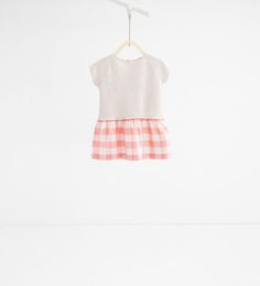 Image 1 of Printed dress with striped skirt from Zara