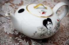 Vintage teapot decorated with screen printed pretty lady, flowers, and birds. So pret-tea! $74