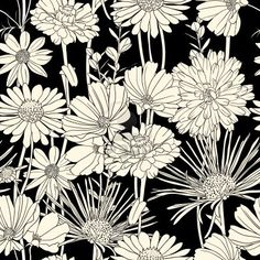 Exquisite black and white line art background 03 - vector material - 花柄 Flower Pattern Drawing, Pattern Art, Flower Patterns, Drawing Flowers, Daisy Pattern, Fabric Patterns, Flores Wallpaper, Botanical Wallpaper, Heart Wallpaper
