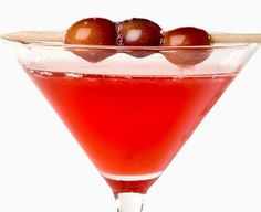 My favorite drink ever: bonefish grill pomegranate martini!  2 oz Vodka (use your favorite brand)  2 oz POM Wonderful Pomegranate Mango juice  0.50 oz Simple Syrup  Frozen red grapes
