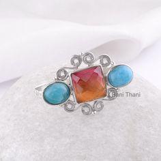 Two Finger Ring Gemstone Ring Tourmaline Bi Doublet by BaniThani