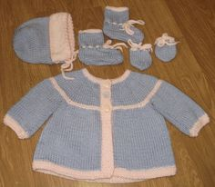 Hand Knitted Baby Sweater Winter Set in Pink and by craftytwins2, $30.00