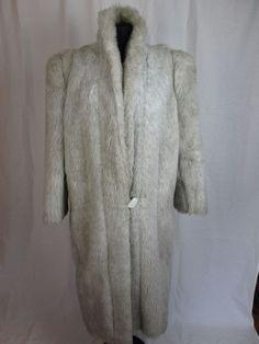 White Faux Fur Coat LONG Women's Full Length Jacket Size Large #DennisBasso #BasicCoat