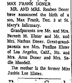 Ida Lee Mandel's grandson page 8 of: Galveston Daily News December 15, 1962