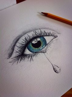 Crying eye pencil drawing