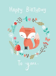 Louise Anglicas - LAS Woodland Fox Butterfly Mushroom Flowers Happy Birthday