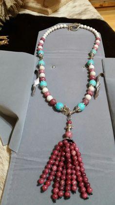 Rhodochrosite Detachable Tassle Necklace With Turquoise.  75.00