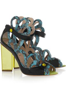 Nicholas Kirkwood laser-cut snake and leather sandals  | THE OUTNET #PerfectGifts #InsideTheBox