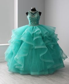 cab0e21cecb Illusion Ruffled Quinceanera Dress by Fiesta Gowns 56367. Sweet 16 ...