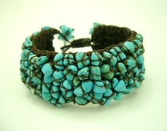 Love, Love, Love this bracelet! | Turquoise Knitting Crochet with Wax Cotton Bracelet | by Design By Nulek on Esty