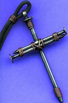 DIY Wire Wrapped Masculine Nail Cross (Inspiration Only. No Pattern or Instructions.)