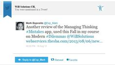 A retweet of our management dilemma app by Prof Mark Esposito from Harvard University