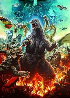 #Godzilla & friends... well actually mostly enemies. #kaiju #gojira