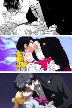 The kiss Sailor Moon and Tuxedo mask from Manga, Anime and Crystal remake 🌙 Sailor Moon Manga, Sailor Moons, Sailor Saturn, Sailor Moon Crystal, Arte Sailor Moon, Sailor Venus, Tuxedo Mask, Sailor Mercury, Dango Peluche