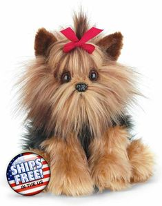 Toy Yorkie, Yorkie Puppy, Toy Yorkshire Terrier, Cute Stuffed Animals, Dog Bows, Plush Animals, Animals For Kids, Pet Toys, Dogs And Puppies