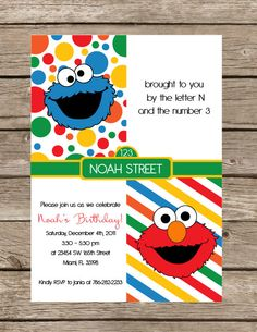 Cookie Monster and Elmo -- Sesame Street birthday party invites.