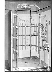This old vintage showering system is totally steampunked! That... or a torture chamber!