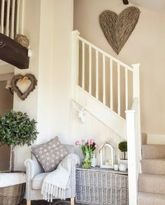 Summer hallway.... Bright and welcoming... Wicker heart