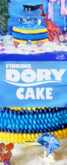 """This Finding Dory Cake was one of my favorite things!  It's based off of the scene where Dory meets Hank the """"septipus"""" and he scoops her up into a coffeepot"""