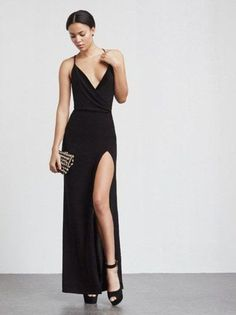 Sexy Spaghetti Prom Dresses,Backless Prom Dresses,Deep V Neck Slit Evening Dress,Long Prom Dress,MB 17