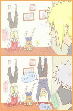 Like mum, like son Come on kakashi. Bet you cant stay there longer than we can Naruto Minato, Anime Naruto, Naruto Comic, Naruto Cute, Naruto Shippuden Sasuke, Otaku Anime, Anime Manga, Sasunaru, Naruhina