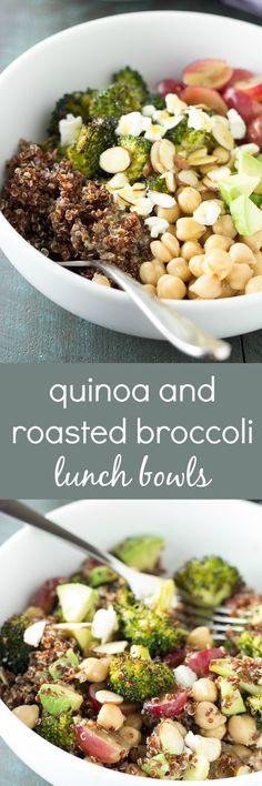 Quinoa and Roasted Broccoli Lunch Bowls - make ahead for easy, healthy ...