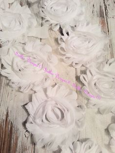 6 Piece 2.5 White Shabby Flowers by IsellusDesigns on Etsy