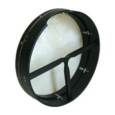 """Bodhran, 18"""" x 4"""", Tune, Black, T-Bar by Roosebeck. $79.82. Bodhran, 18"""" x 4"""", Tune In, Black, T-Bar. Removable T-Bar. Bolt tuning is hidden on the inside of the frame. Goatskin, mulberry wood painted black. Includes a tipper and a tuning wrench."""