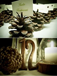 Pinecones for a winter wedding.
