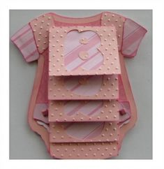 Baby Onesie Waterfall Card  This adorable card can be made  for a boy or girl, great for Baby Showers!  Pull the tab and the letters Baby  appear one by one like a waterfall.