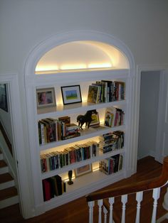 Built In Bookcase Lighting Awesome A Large Deep Paint Grade Open Bookcase with Elliptical Built In Bookcase, Bookshelves, Bookshelf Lighting, Recessed Shelves, Shelving, Built Ins, Decoration, Living Spaces, Living Room