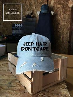 Jeep Hair Dont Care Baseball Cap Denim Cap Jean Cap by ArtesaniaTh