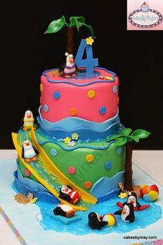 Penguin Water Park Fun by Cakes by Maylene Pool Party Cakes, Pool Cake, Birthday Party Desserts, Birthday Cake, Birthday Ideas, Penguin Cakes, Penguin Party, Cake Decorating With Fondant, Baby Girl Cakes