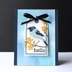 https://flic.kr/p/uzx2UZ | quickcard111 | Hero Arts Scramble 111 - Card on a Card Tag lifts to reveal a second tag with a message. watercolor + tag + favorite color (navy)  HA Color Layering Bird and Branch (CL866) HA Big Tag (K5661) HA Large Tag Die (DI058) HA Essential Messages (CL371)