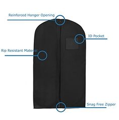 New Breathable 55 SuitDress Black Garment Bag by BAGS FOR LESSTM *** Want additional info? Click on the image.