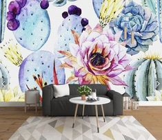 Hand Painted Purple Cactus Flower Wallpaper Mural Art Wall Decals Home Wall Decor Printed Photo Floral Wall Paper Rolls Contact Paper Hand Painted Purple Cactus Flower Wallpaper Mural Art Wall Decals Home Wall Decor Printed Photo Floral Wall Paper Ro Flower Mural, Flower Art, Flower Ideas, Flower Wallpaper, Wall Wallpaper, Purple Wallpaper, Mural Art, Wall Murals, Wall Décor