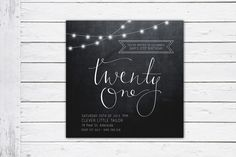 Fairy Lights, twenty first birthday invitation, hipster invite, black and white invitation by RMcreative