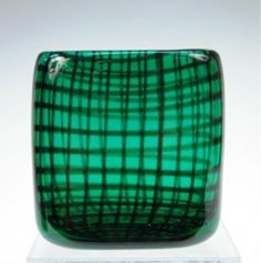 Small green vase with allover latticework motif, designed by Herman Bongard for Hadeland, glass, Norway, signed. on Aug 2010 Green Vase, Glass Design, Murano Glass, Red Green, Vases, Scandinavian, Glass Art, Mosaic, Objects
