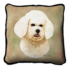 Bichon Frise Dog Portrait Pillow