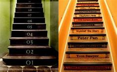 "This ""library"" of stair risers is a natural for attic or basement stairs otherwise lackluster."