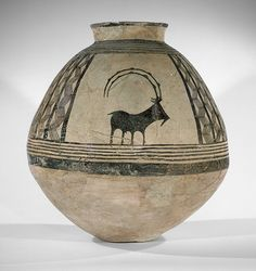 Prehistoric era - Storage jar decorated with mountain goats, early 4th millennium BC; Chalcolithic period, Sialk type, Central Iran
