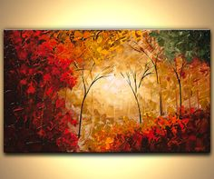 Landscape Painting Textured Modern Palette Knife Blooming Tree Painting Forest Original Abstract Landscape Acrylic by Osnat